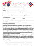 Classics Basketball Liability Waiver And Consent For Medical Treatment (return To Your Coach/team Manager)