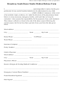 Broadway South Dance Studio Medical Release Form