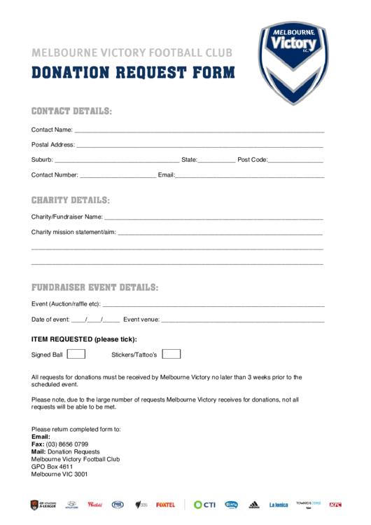 Melbourne Victory Fc Donation Request Form