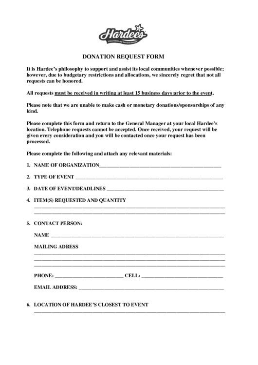 Hardee's Donation Request Form
