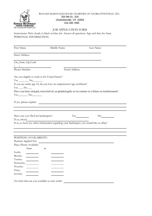 fillable job application form printable pdf download