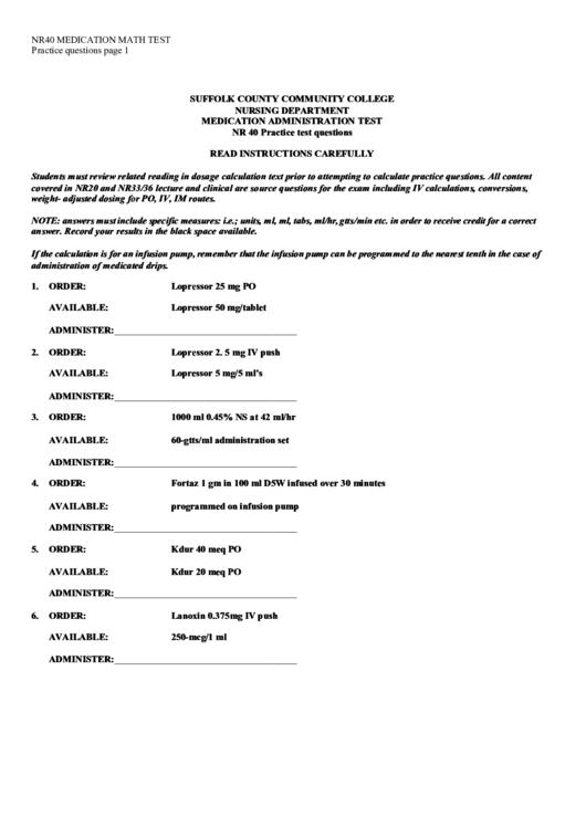 Nr40 Medication Math Test Printable pdf