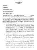 Letter Of Intent Between The Hospital And Physician