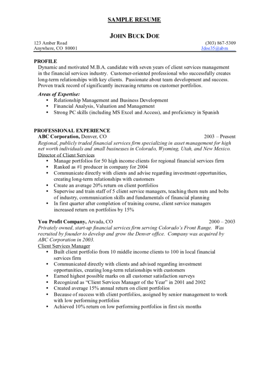 Sample Client Services Manager Chronological Resume Template Printable pdf