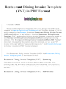 Restaurant Dining Invoice Template