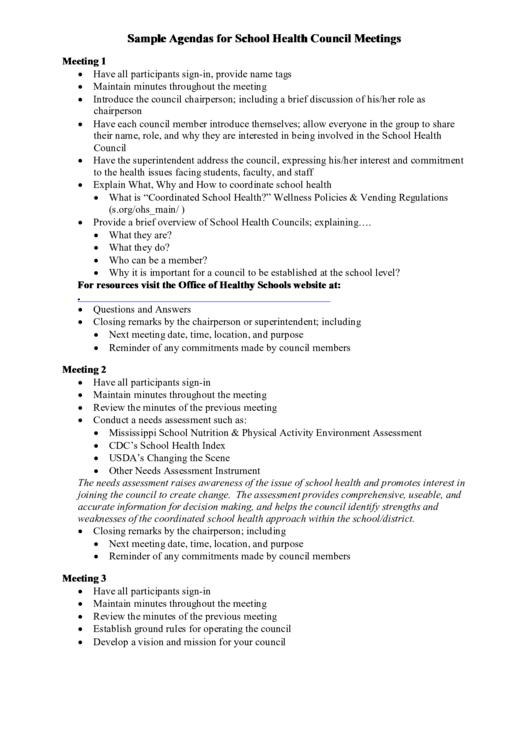 Sample Agendas For School Health Council Meetings Printable pdf