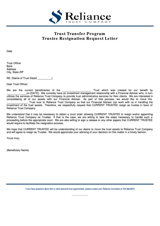 Trustee Resignation Request Letter