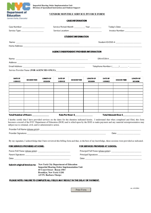 Nyc Department Of Education Vendor Monthly Service Invoice Form