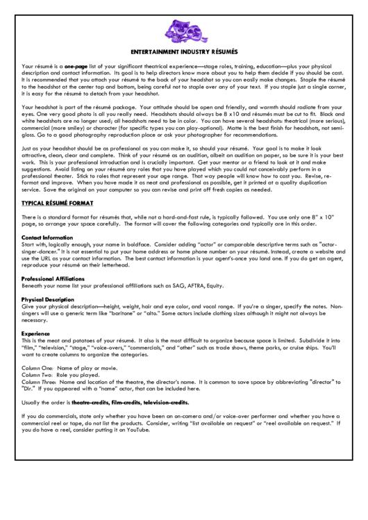 Theatre Resume Guidebook