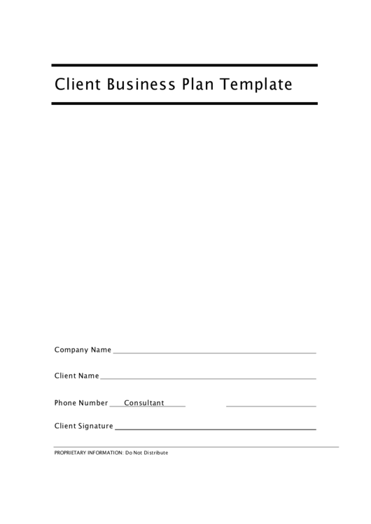 Fillable Client Business Plan Template Printable pdf