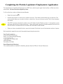 Florida Legislature Employment Application