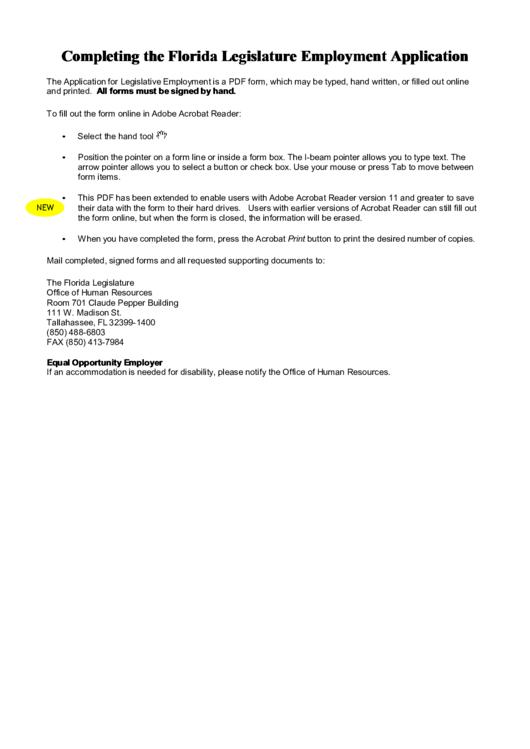 Fillable Florida Legislature Employment Application Printable pdf