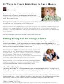 11 Ways To Teach Kids How To Save Money