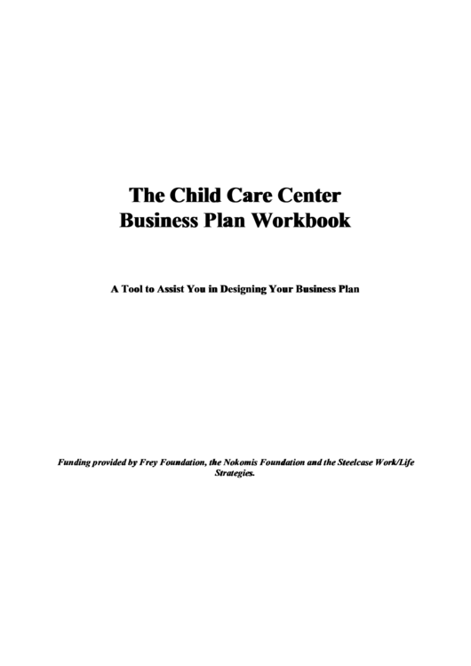 The Child Care Center Business Plan Workbook Printable pdf