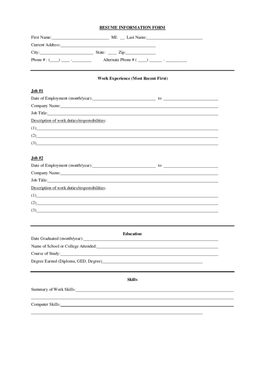 resume information form printable pdf download