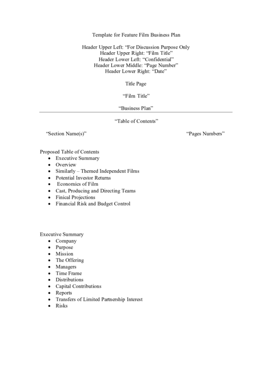 Template For Feature Film Business Plan Printable pdf