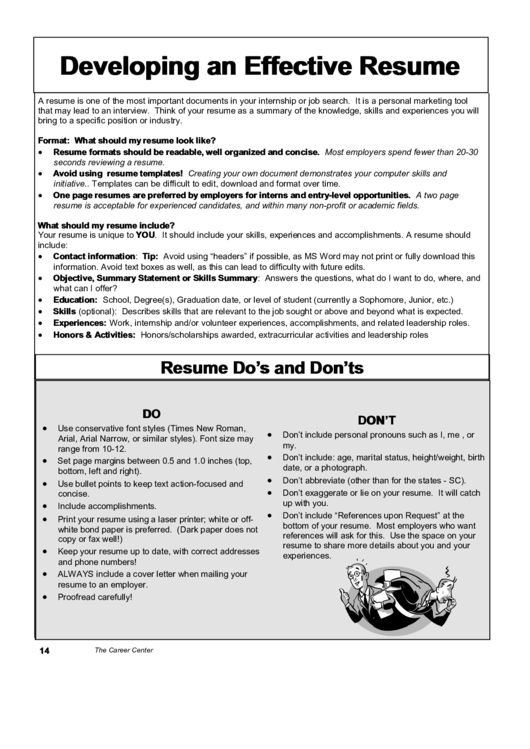 Developing An Effective Resume