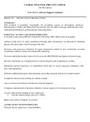 Global Financial Private Capital Job Description Template