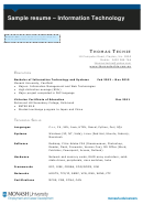 Sample Resume - Information Technology