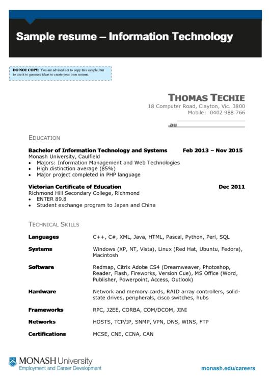 Sample Resume - Information Technology Printable pdf