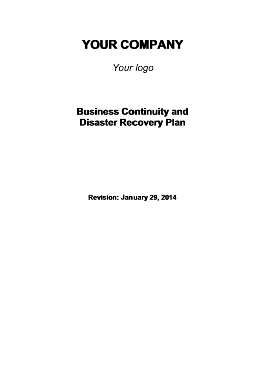 Business Continuity And Disaster Recovery Plan