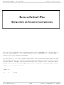 Business Continuity Plan Components And Sequencing Description
