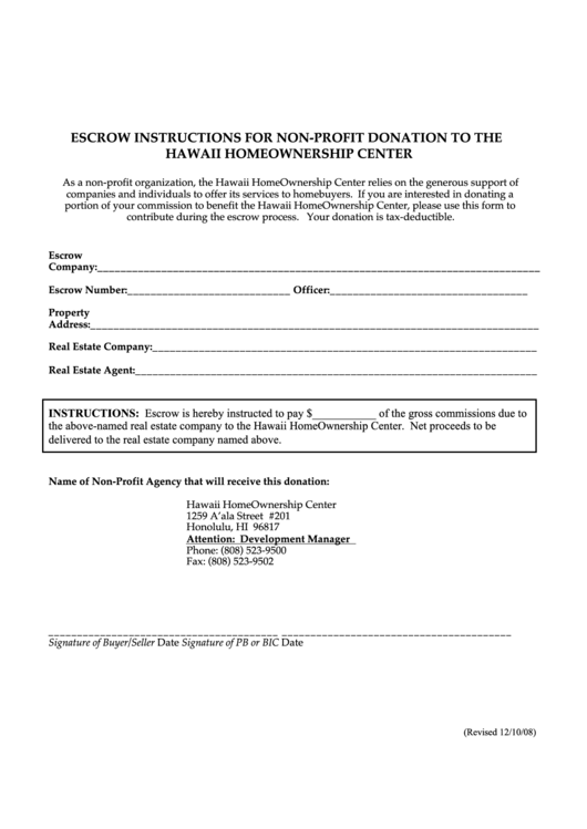 Non-profit Donation Form With Escrow Instructions - Hawaii Homeownership Center