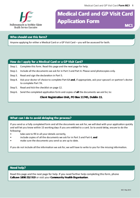 Hse Medical Card And Gp Visit Card Application Form printable pdf ...