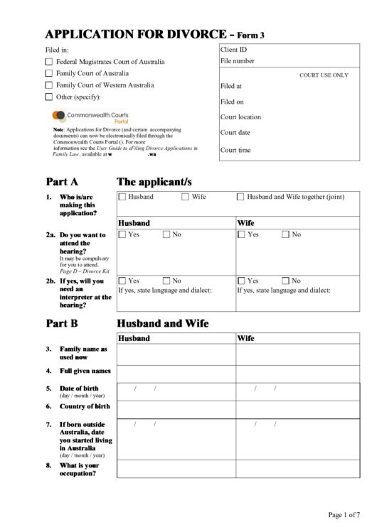 Application For Divorce Kit