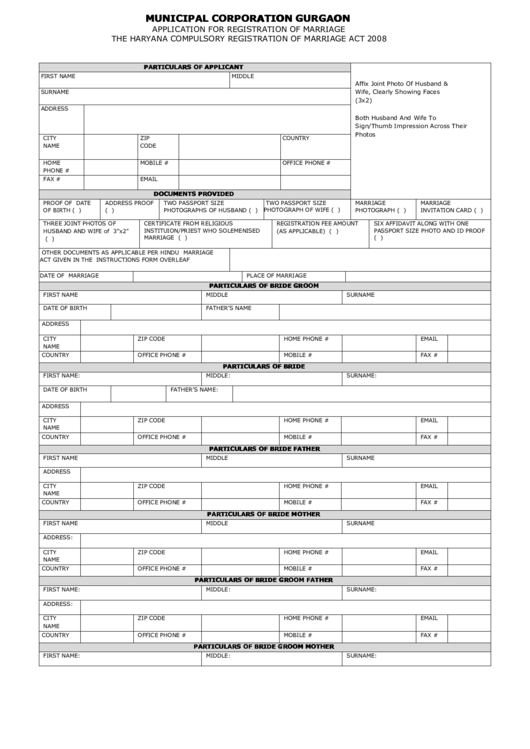 Municipal Corporation Gurgaon Application For Registration Of Marriage