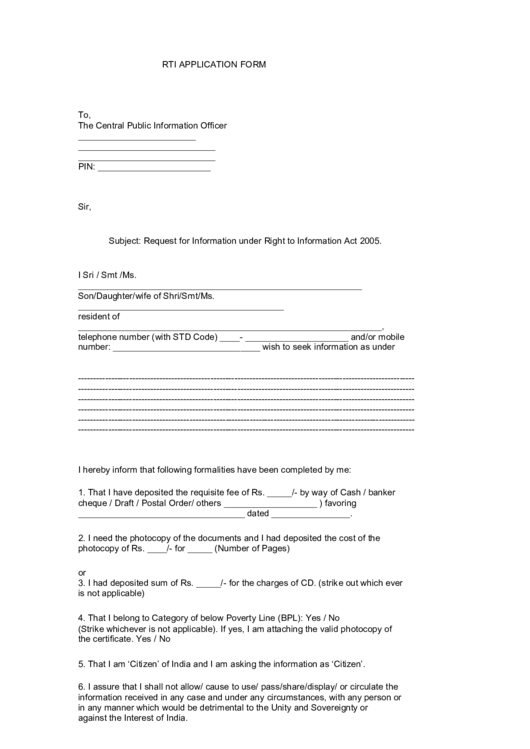 Rti Application Form Printable Pdf Download