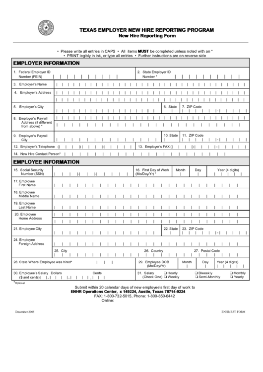 Form Enhr Rpt New Hire Reporting Form Printable Pdf Download