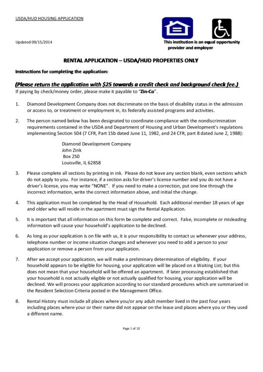 Rental Application - Usda/hud Properties Only printable pdf