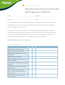 Manufactured Home Community Self-inspection Checklist Template