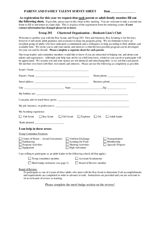 Parent And Family Talent Survey Sheet Printable pdf