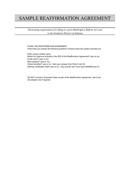 Form 240a Sample Reaffirmation Agreement Printable Pdf Download
