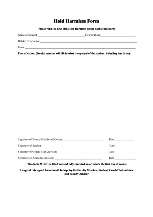 Hold Harmless Form Printable Pdf Download