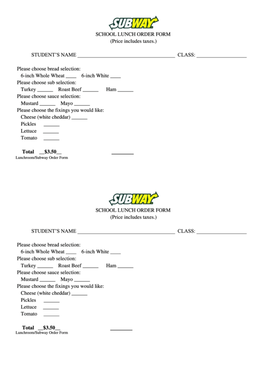 Subway School Lunch Order Form Printable Pdf
