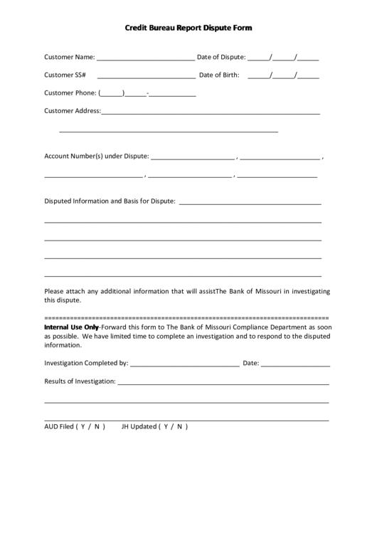 Credit Bureau Report Dispute Form