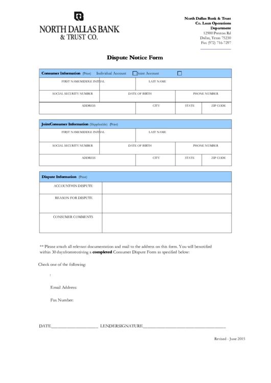 Dispute Notice Form - North Dallas Bank & Trust Co. - 2015