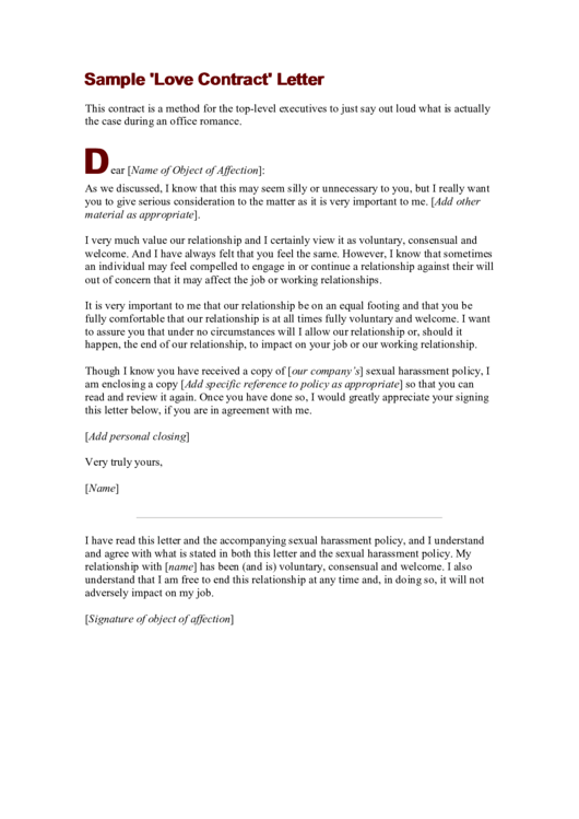 Sample Love Contract Letter Printable Pdf Download