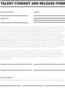 Talent Consent And Release Form