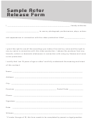Sample Actor Release Form