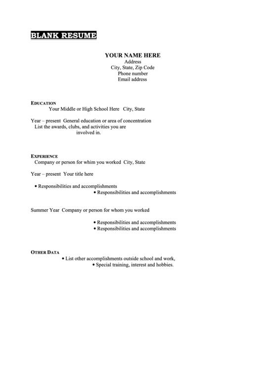 Blank Resume Template Printable pdf