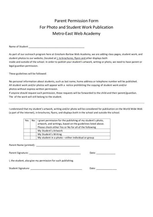 Parent Permission Form For Photo And Student Work Publication Metro-East Web Academy Printable pdf