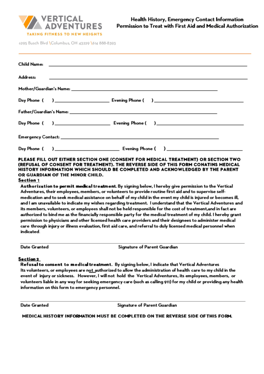 Health History, Emergency Contact Information Permission To Treat With First Aid And Medical Authorization