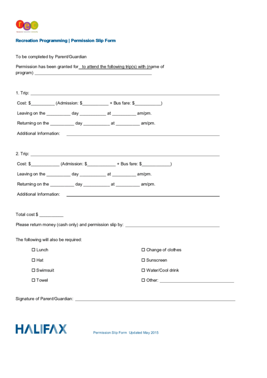 Recreation Programming Permission Slip Form