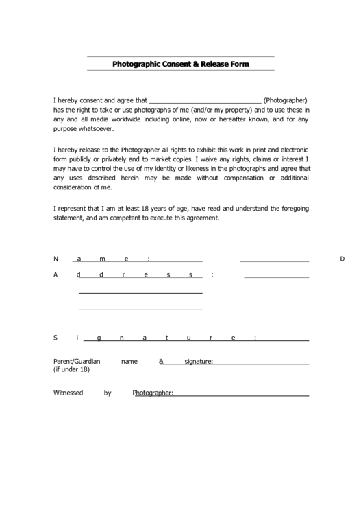 Photographic Consent Release Form