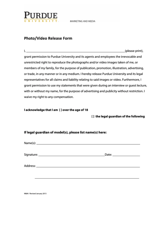 Sample Photo/video Release Form