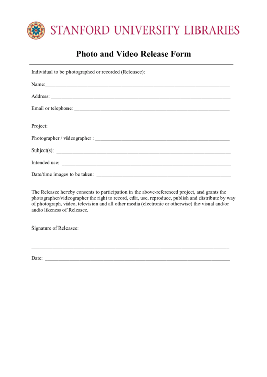 Stanford University Photo And Video Release Form